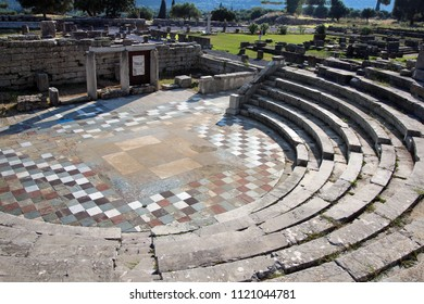 Archaeological Site of ancient Messene in Greece.The Asklepieion complex and the Vouleuterion.It was the main assembly hall for the counselors who represented the independent cities of ancient Messene