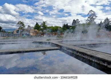 Archaeological site called Baños del Inca in Cajamarca, Peru