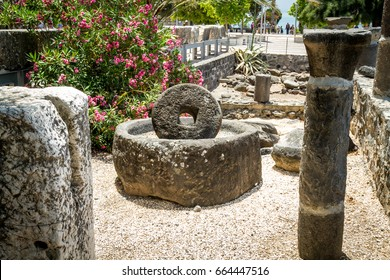 Archaeological site Capernaum on the shore of the Sea of Galilee in Israel, ancient millstone for olive oil press