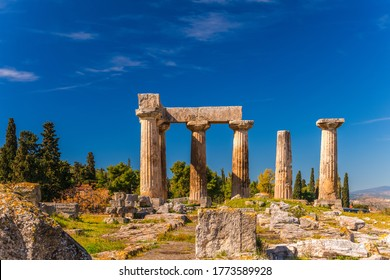 Archaeological Site Of Corinth And Temple of Apollo. The Temple of Apollo (6th c. B.C.) in Ancient Corinth, Greece
