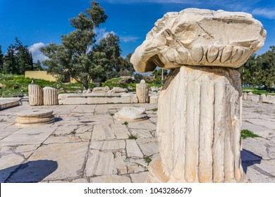 Archaeological site of Eleusis (Eleusina). The Greater Propylaia (monumental gateway in Greek architecture), which facing Athens and formed as the main entrance to the Sanctuary in Roman period