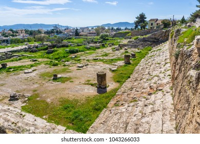 Archaeological site of Eleusis (Eleusina). The Telesterion, the hall in which events dedicated to Demeter and Persephone were reenacted and the pilgrims were initiated into the Eleusinian Mysteries