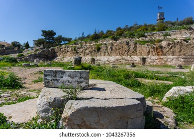 Archaeological site of Eleusis (Eleusina). The Telesterion epigraph, the hall in which events dedicated to Demeter and Persephone were reenacted and the pilgrims were initiated into the Mysteries