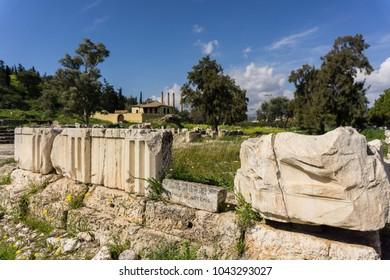 Archaeological site of Eleusis (Eleusina). Temple and altars of goddess Artemis propylaia and Poseidon Pater