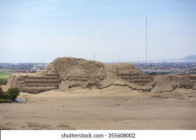Archaeological site Huaca del Sol y de la Luna (Temple of the Sun and the Moon) in Trujillo, Peru. Site was built in Moche period.