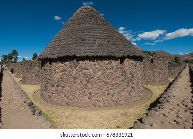 Archaeological site Inca Racchi, of great historical value known as Viracocha temple, the round qollqas used to store products, in the city of San Pedro in Peru, July 2014.