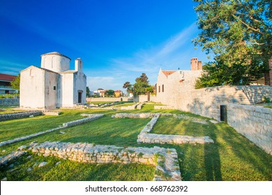 Archaeological site and medieval church in historic town of Nin, Dalmatia, Croatia