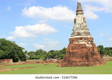 Archaeological site and the nature ,Wat Chaiwatthanaram ,Ayutthaya Historical Park ,Thailand ,world heritage. Thai temple ,ancient architecture ,ancient sculpture.