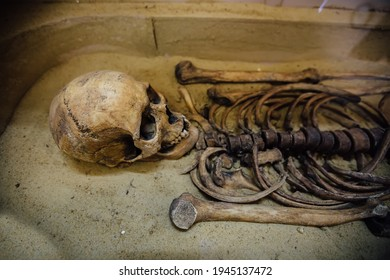 Archaeological site, a old human skeleton in ancient tomb.