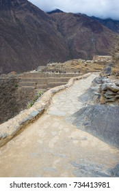 The archaeological site at Ollantaytambo, Inca city of Sacred Valley, major travel destination in Cusco region, Peru.