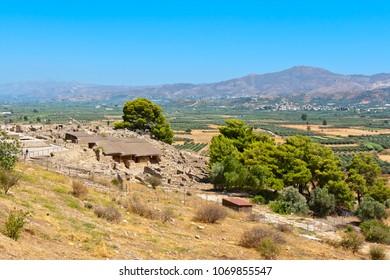 Archaeological site of Phaistos and Messara plain. Crete, Greece