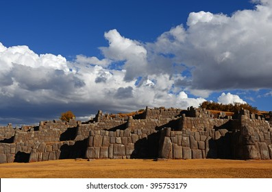The archaeological site of Sacsayhuaman fortress at sunset near Cusco city, Peru.