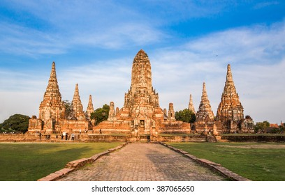 archaeological site at Wat Chaiwatthanaram in Ayutthaya historical city,Thailand, Public place, Ayutthaya,Thailand