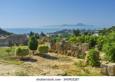 The archaeological sites of Carthage located on the hilly area covered with lush green gardens, Tunisia.