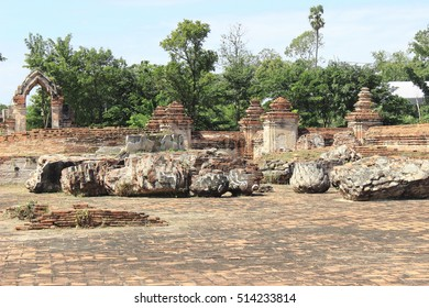Archaeological site,Wat Khudeedao ,ancient architecture  , Buddhist sculpture ,Thai temple architecture ,Ayutthaya Historical Park,Thailand , world heritage.