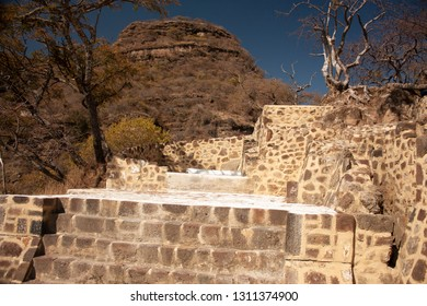 archaeological vestiges in pyramid that dates from year 1153 buried in the chasm of the great hill of the speaker in a state of Mexico with rock formations in the mountain