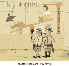 Archaeologists studying an ancient egyptian wall paintings