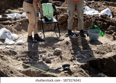 Archaeologists working on medieval human remains excavation