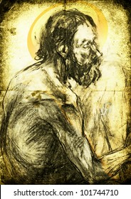 Archaic portrait of an old holy man / The Saint - charcoal drawing