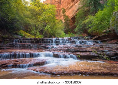 Archangel Falls on the left fork of the North Creek (Subway) trail, Zion National Park, Utah