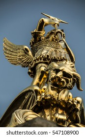 Archangel Michael fighting the dragon from the tower of the church in the town of Saint-Michel-Mont-Mercure, France