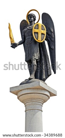 Archangel michael statue on