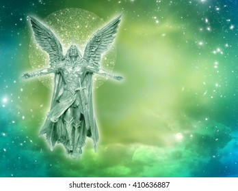 archangel with stars and mystical divine sky