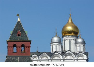 The Archangel's cathedral and The Secret (Tainitskaya) Tower in Moscow Kremlin, Russia.
