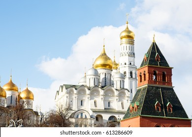 Archangelsky cathedral and the bell tower of Ivan the Great, the Moscow Kremlin. Russia