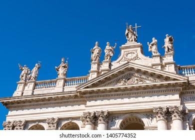 Archbasilica of St. John Lateran at sunny day, Italy