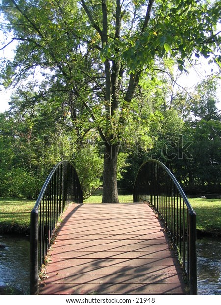 Arched bridge from end