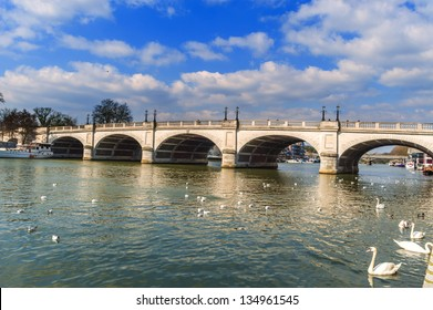 Arched Bridge in Kingston UK which Crosses the Thames River