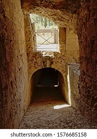 Arched corricor under a roman amphitheatre, part of the Archeological excavation of the ruins of Italica, Roman city in the province of Hispania Baetica near the current village of Santiponce, Sevilla