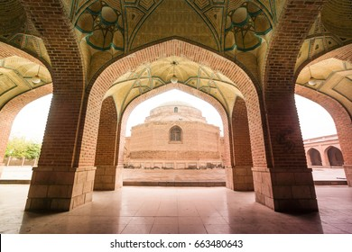 Arched courtyard corridor of Blue Mosque ( Goy mascid; Masjed-e Kabud)  a famous historic place in Tabriz, Iran.Was built  in 1465 upon the order of Jahan Shah the ruler of Kara Koyunlu dynasty.