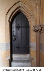 Arched doorway and stone arch in a church porch