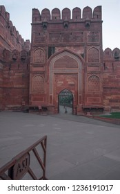 An arched entrance of the Agra Fort also called as Red Fort with strong high walls made of red stones once a residence of the Mughal Dynasty with amazing mughal architecture and a major tourist site