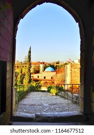 Arched Entrance of Fort and Old Stone Walkway to Historical City Center of Byblos, Lebanon [Blue Dome Mosque]