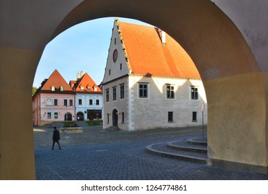 Arched entrance to the main square of medieval UNESCO World Heritage town of Bardejov in the north Slovakia.