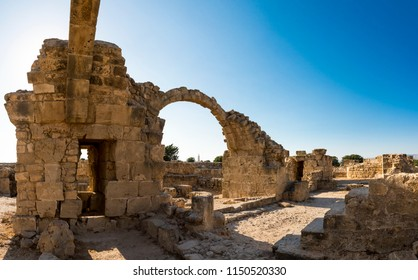 Arched entryways in Saranta Kolones excavated castle ruins in Paphos Archaeological Park, Cyprus
