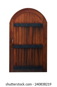 Arched Medieval Wooden Door isolated on white background with clipping path