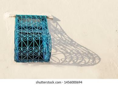 Arched window with Blue Trellis, Africa, North Africa, Tunisia, Sidi Bou Said