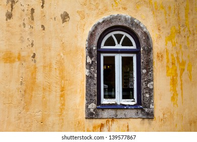 Arched Window on Yellow Wall of Pena Palace, Sintra, Portugal