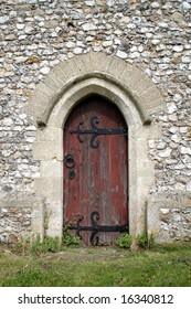 Arched Wooden Doorway to a Medieval English Church