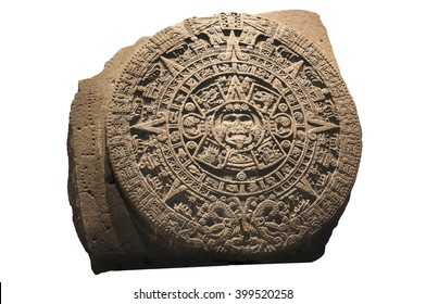 Archeological Aztec Sun Calendar The Aztec calendar stone was made by the Mexica culture in Mexico around 1300 AD.  It is displayed at the National Museum of Anthropology in Mexico City