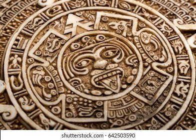 Archeological Aztec Sun Calendar. The Aztec calendar stone was made by inhabitants of modern day Mexico