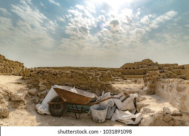Archeological digging tools are seen at the Bahrain Fort.