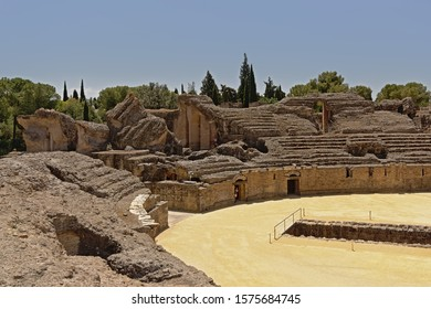 Archeological excavation of the ruins of  Roman amphitheatre at Italica, Roman city in the province of Hispania Baetica.