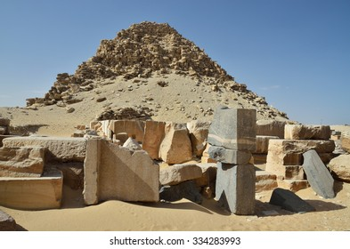 Archeological finds (stone fragments, lumps) are near the Sahure pyramid ruined in the Saqqara necropolis.