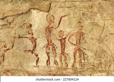 Archeological pre historic human clift paint over 4000 years ago Nakhonratchasima Thailand