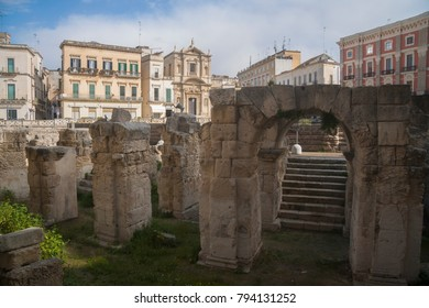 Archeological site on the central square of Lecce, region Puglia, Italy